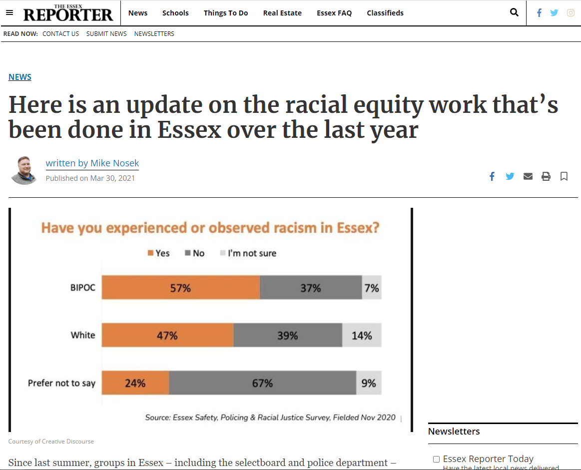 Have you experienced or observed racism in Essex?